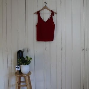 Red MANGO Tie-Strap Knit Tank Top